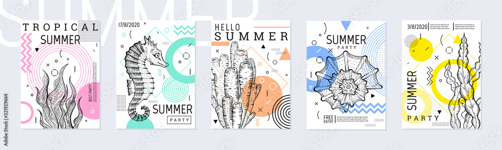 Fototapeta Summer party poster set, geometric memphis style. Cool trendy flyer with type. Sea ocean elements for travel banner, music cover, fashion print. Weed vector illustration, coral, mint, pink color
