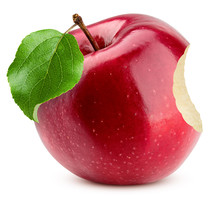 Red Apple Bite Isolated On White Background, Clipping Path, Full Depth Of Field