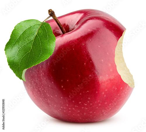 Fototapeta Red apple bite isolated on white background, clipping path, full depth of field obraz