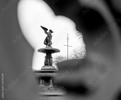 Платно Bethesda Fountain Black and White Central Park New York City