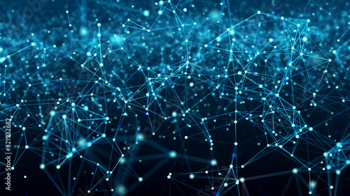 Obraz Digital plexus of glowing lines and dots. Cybernetic futuristic background. Big data visualization. Network or connection. 3d rendering. - fototapety do salonu