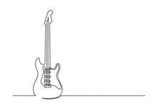 Continuous One Line Drawing Of A Guitar