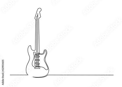 Fotografie, Obraz Continuous one line drawing of a guitar
