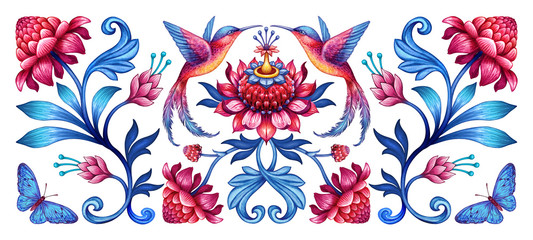 Fototapetadigital illustration, abstract floral pattern with birds, red blue folklore motif isolated on white background, watercolor texture, horizontal botanical design, modern fashion print
