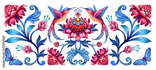 Leinwand Poster digital illustration, abstract floral pattern with birds, red blue folklore moti