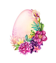 Digital Watercolor Botanical Illustration. Easter Egg Shape. Tropical Flowers Wreath, Palm Leaves, Calla Lily, Hydrangea. Floral Arrangement, White Background. Greeting Card Template, Copy Space
