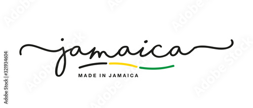 Made in Jamaica handwritten calligraphic lettering logo sticker flag ribbon bann Canvas Print