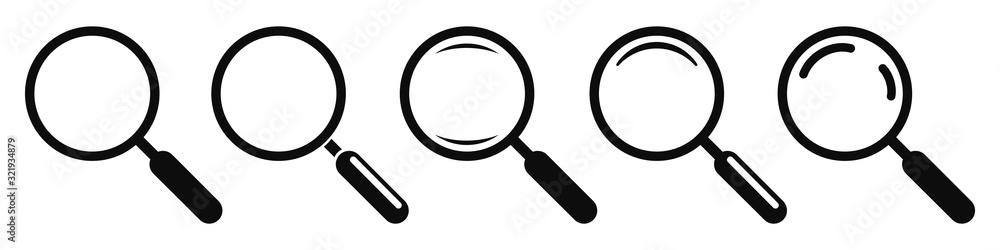 Fototapeta Magnifying glass instrument set icon, magnifying sign, glass, magnifier or loupe sign, search – stock vector
