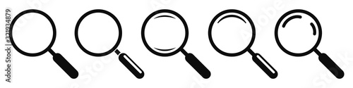 Photo Magnifying glass instrument set icon, magnifying sign, glass, magnifier or loupe