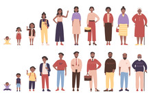 African American Black Woman And Man In Different Ages Vector Illustration. Human Life Stages, Childhood, Youth, Adulthood And Senility. Children, Young And Elderly People Flat Characters Isolated
