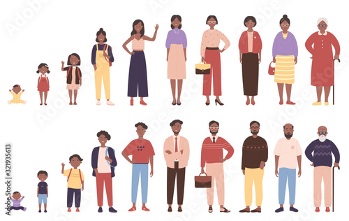 Photo African american black woman and man in different ages vector illustration