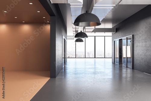 Fototapeta Modern office hall in yellow interior. obraz