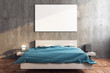 canvas print picture - Stylish bedroom with blank poster on wall.
