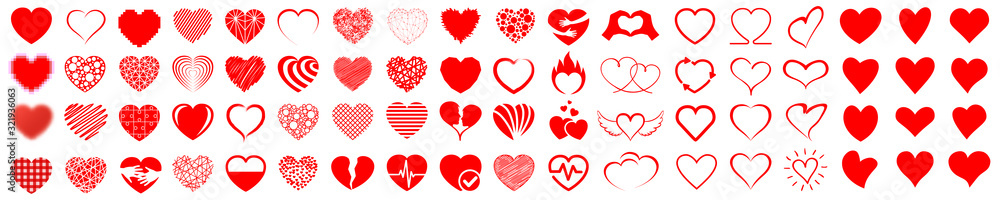 Fototapeta Set of hearts icon, heart drawn hand - stock vector
