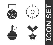 Set Military Reward Medal , Military Reward Medal , Hand Grenade  And Target Sport For Shooting Competition  Icon. Vector