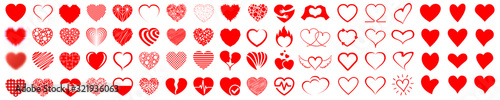 Set of hearts icon, heart drawn hand - stock vector