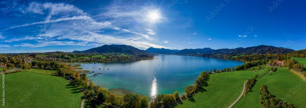 Fototapeta View over the bavarian Tegernsee, a very popular lake.