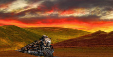 California Central Coast A 1940's Coal Burning Locomotive Sunset Landscape,