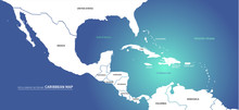 Graphic Vector Of Caribbean Countries  Map. Central America Map.