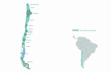 Graphic Vector Of Chile Map. Latin America Countries Map. South America. Santiago Map.