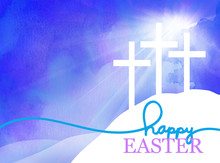 Easter Background Design Of Three White Crosses On Watercolor Blue Sunrise Background With Happy Easter Typography Written In Blue And Purple, Religious Christian Holiday Design