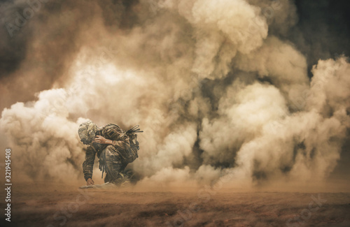 Military soldier making contact with Command Center between smoke in battle fiel Wallpaper Mural