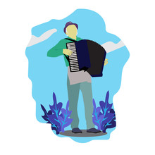 Flat Illustration Of Musician Male Playing Accordion. Accordionist Flat Style Design Element.