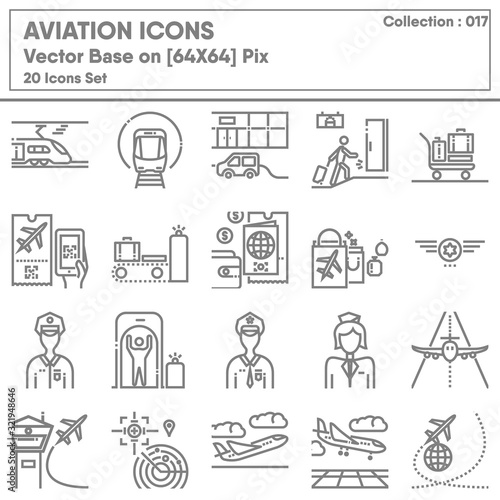 Fototapeta Transportation and Aviation Airport Icon Set, Icons Collection of Transport Airline for Business Travel Service. Infographic of Passenger Aircraft and Terminal, Vector Illustration Design. obraz na płótnie
