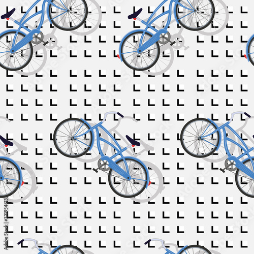 Blue bicycle seamless abstract pattern