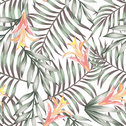 Green leaves seamless flowers pattern white background