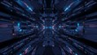 canvas print picture - Futuristic sci-fi space tunnel passageway with glowing shiny lights