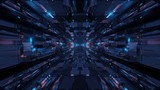 Fototapeta Do przedpokoju - Futuristic sci-fi space tunnel passageway with glowing shiny lights