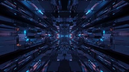 Futuristic sci-fi space tunnel passageway with glowing shiny lights