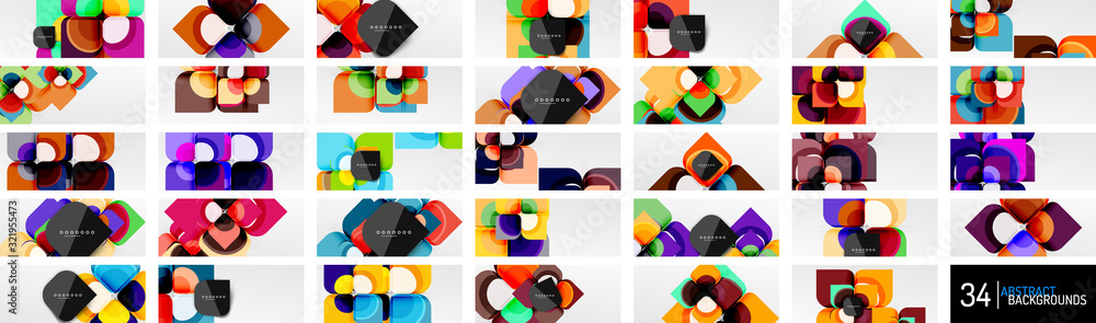 Fototapeta Mega set of abstract backgrounds - geometric cut paper design flowers or square shape compositions. Vector Illustrations For Wallpaper, Banner, Background, Card, Book Illustration, landing page