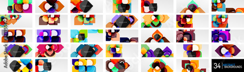 Fototapeta Mega set of abstract backgrounds - geometric cut paper design flowers or square shape compositions. Vector Illustrations For Wallpaper, Banner, Background, Card, Book Illustration, landing page obraz