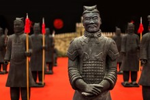 Closeup Of The Duplicates Of The Chinese Terracotta Army With A Blurry Background