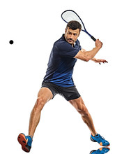 Squash Player Man Isolated Whi...