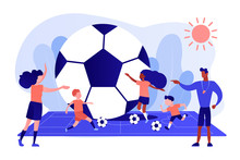 Kids Learning To Play Soccer With Balls On The Field In Summer Camp, Tiny People. Soccer Camp, Football Academy, Kids Soccer School Concept. Pinkish Coral Bluevector Isolated Illustration