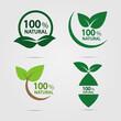eco green energy concept,100 percent natural label.Vector illustration.