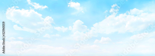 Fototapeta blue colored wide sky and gradient and white cloud texture and striped abstract dirty obraz