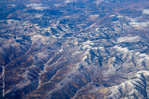 Beautiful aerial view of planet EARTH from the airplane