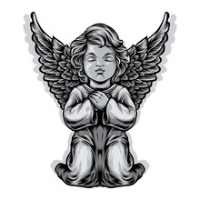 Baby Angel Statue Vector Illustration