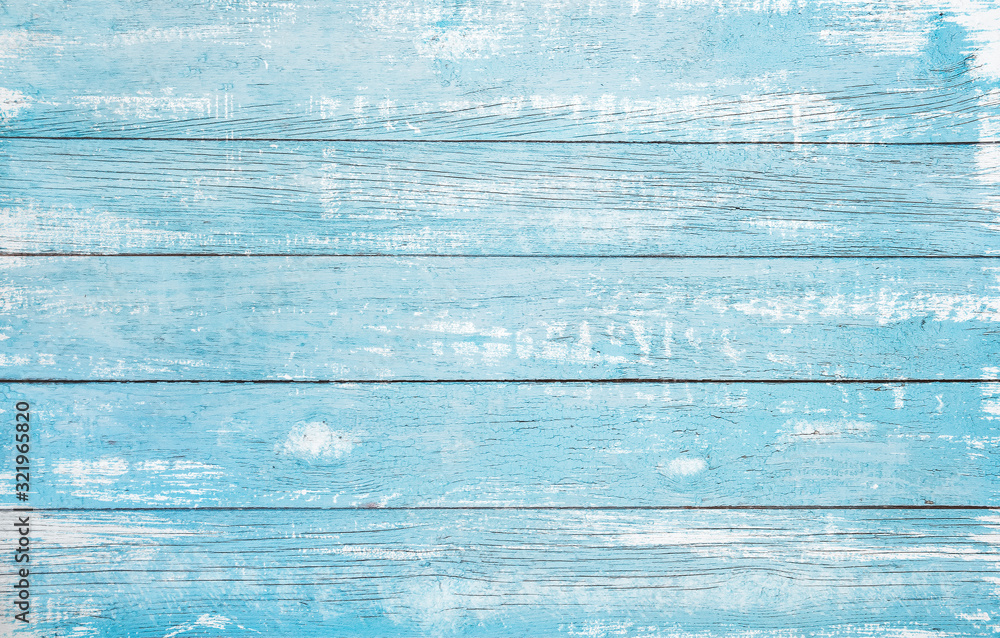 Fototapeta Vintage beach wood background - Old weathered wooden plank painted in turquoise or blue sea color.