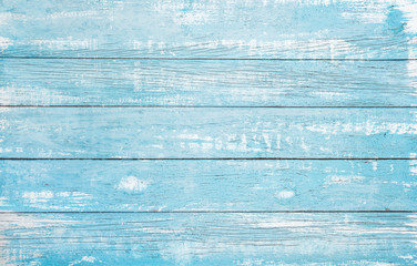 Fototapeta Popularne Vintage beach wood background - Old weathered wooden plank painted in turquoise or blue sea color.