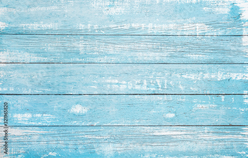 Vintage beach wood background - Old weathered wooden plank painted in turquoise or blue sea color. - 321965820