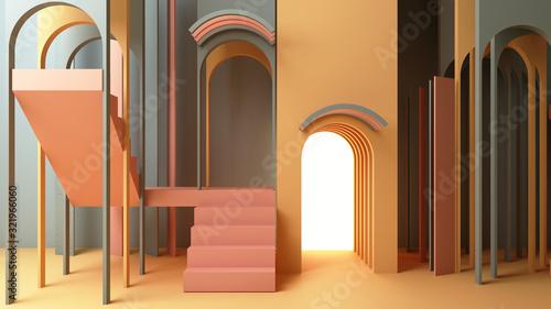 Billede på lærred 3d render illustration in modern geometric style Arch and stairs in trendy minim