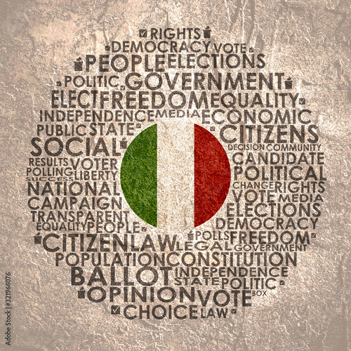 Words cloud relative for voting. Circle frame. Flag of the Italy Tablou Canvas