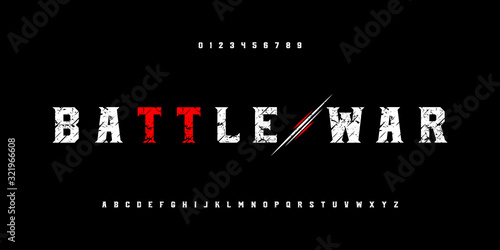 Battle war and warrior alphabet fonts and numbers set Fototapete