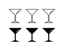 Martini Glass Icons In Flat De...