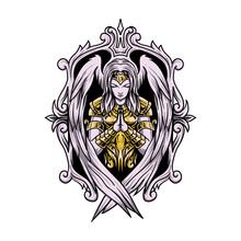 Angel Woman Praying Vector Illustration